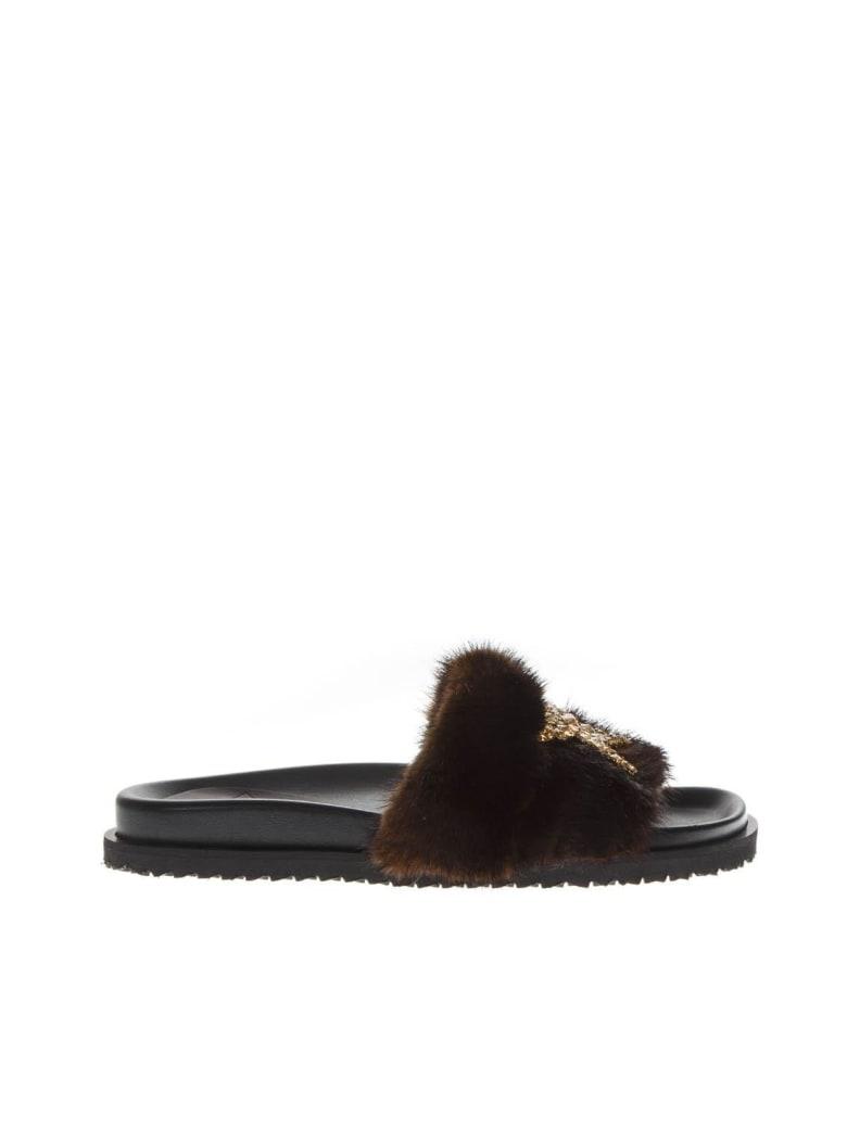 Emanuela Caruso Embellished Brown Mink Sandals - Brown