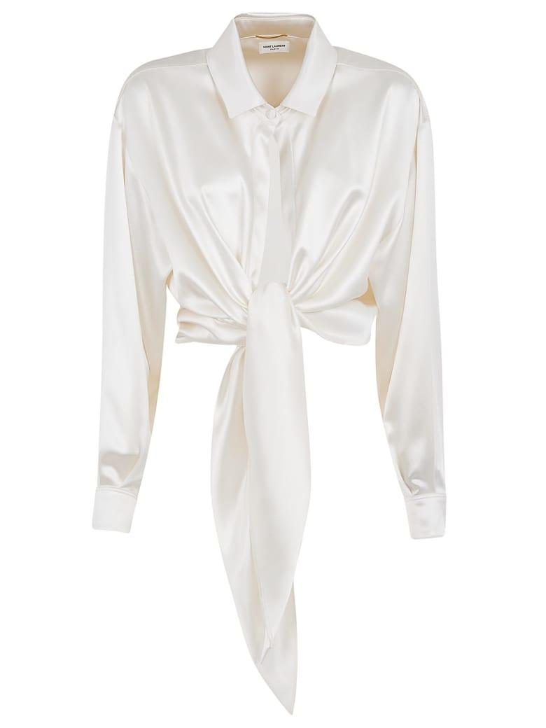 Saint Laurent Draped Cropped Shirt - White