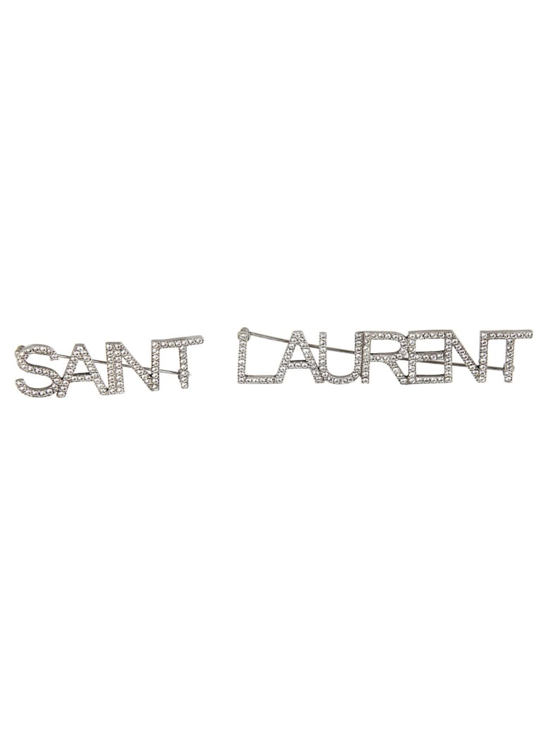 Saint Laurent Logo Studded Brooch - Silver