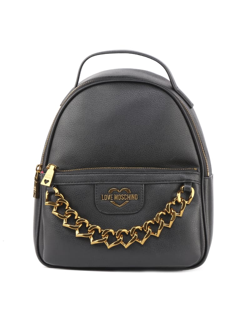 Love Moschino Love Moschino Black Faux Leather Backpack - Black