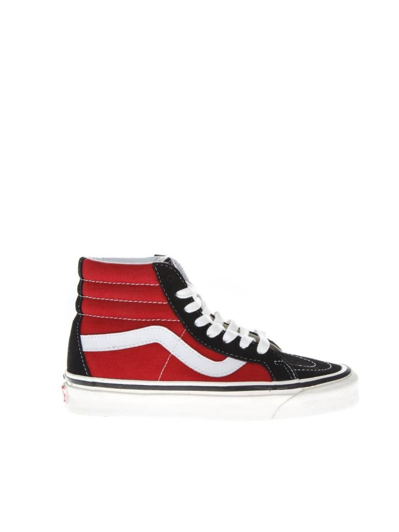 Vans Sk8-hi Black & Red High Leather & Canvas Sneakers - Red/black