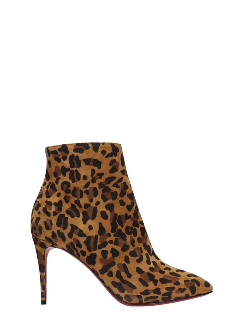 Christian Louboutin Eloise Booty 85 High Heels Ankle Boots In Animalier Suede - Animalier