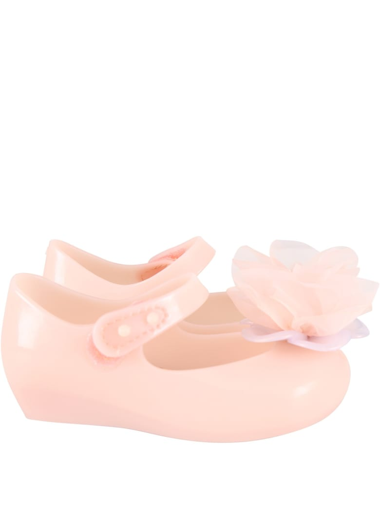 Melissa Pink Ballerina Flats For Girl With Flower - Pink