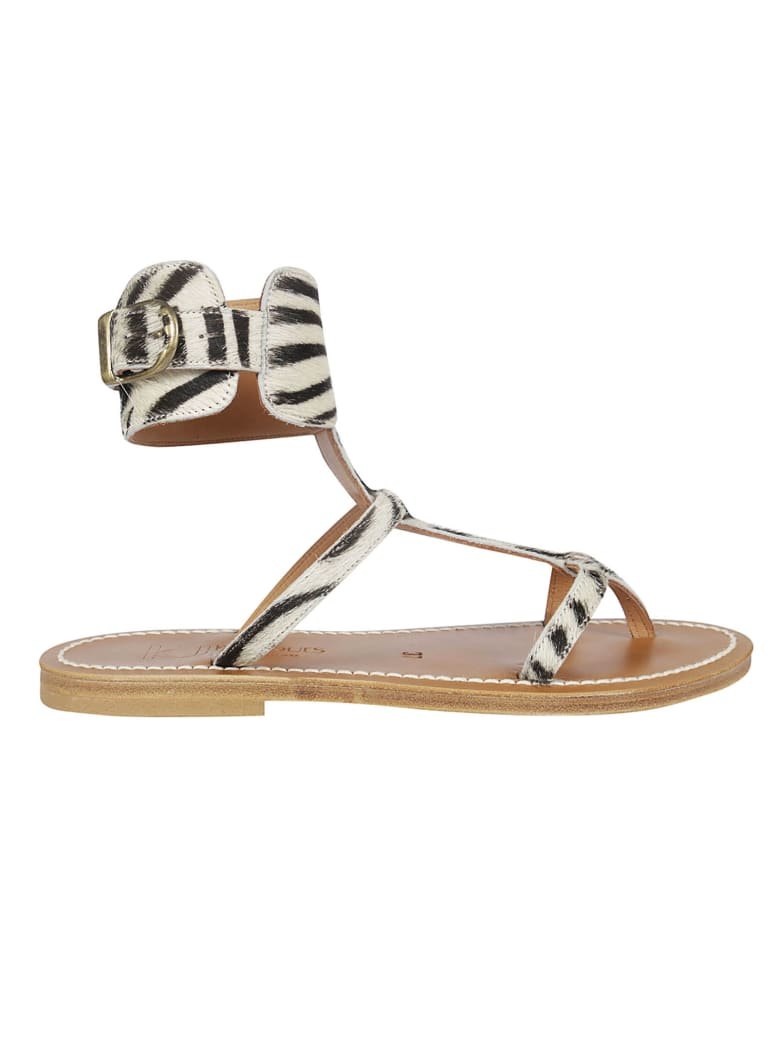 K.Jacques Zebra Print Sandals - White/Black