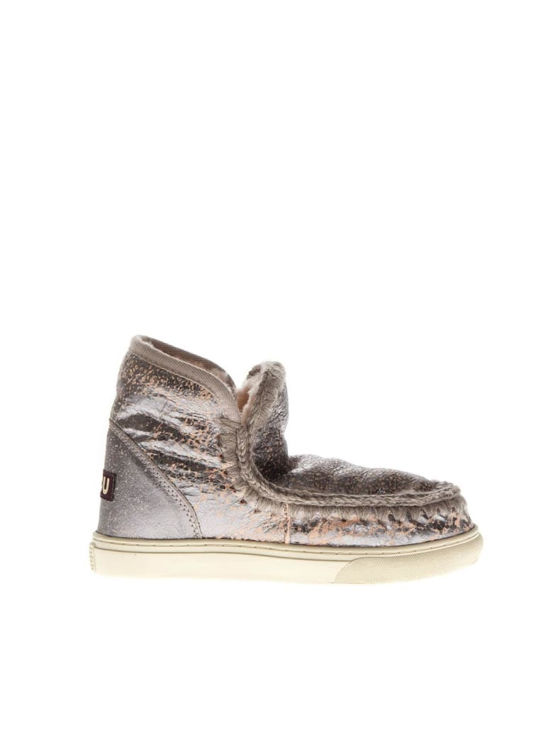 Mou Eskimo Silver Pink Leather Boots - Silver pink