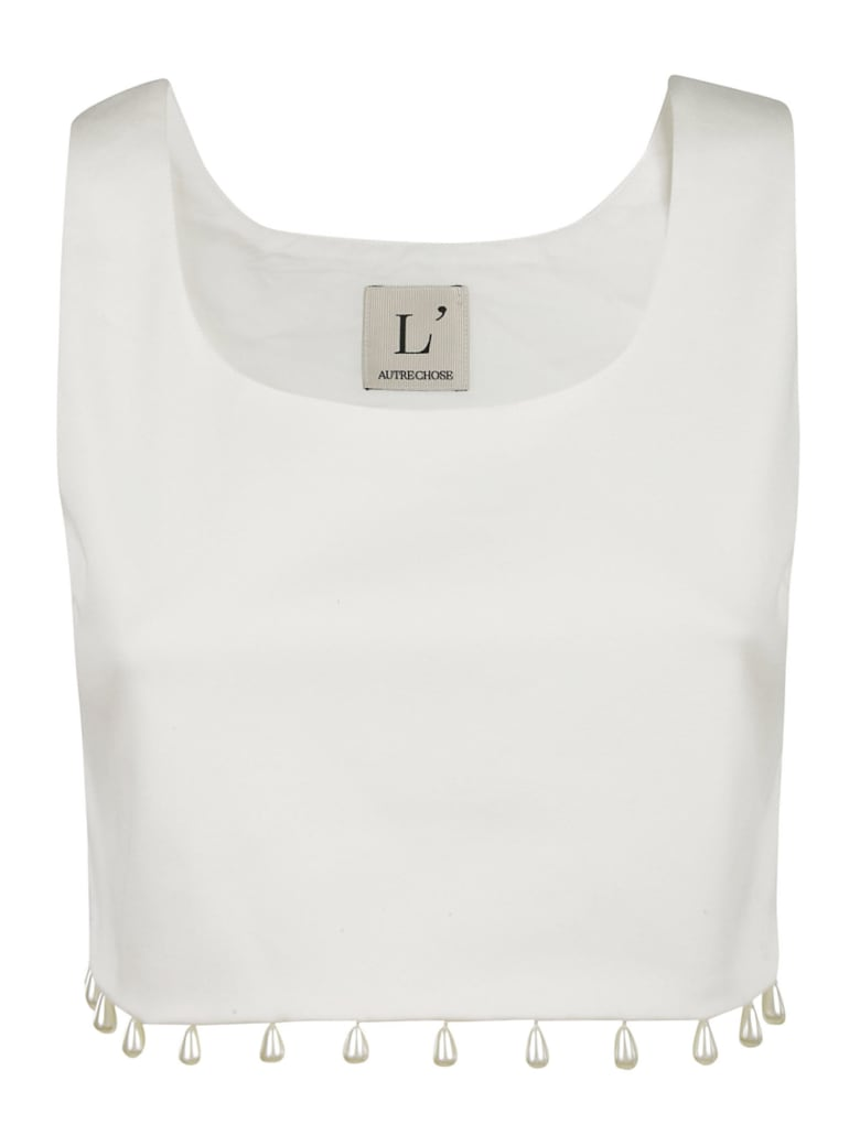 L'Autre Chose Embellished Hem Detail Tank Top - White