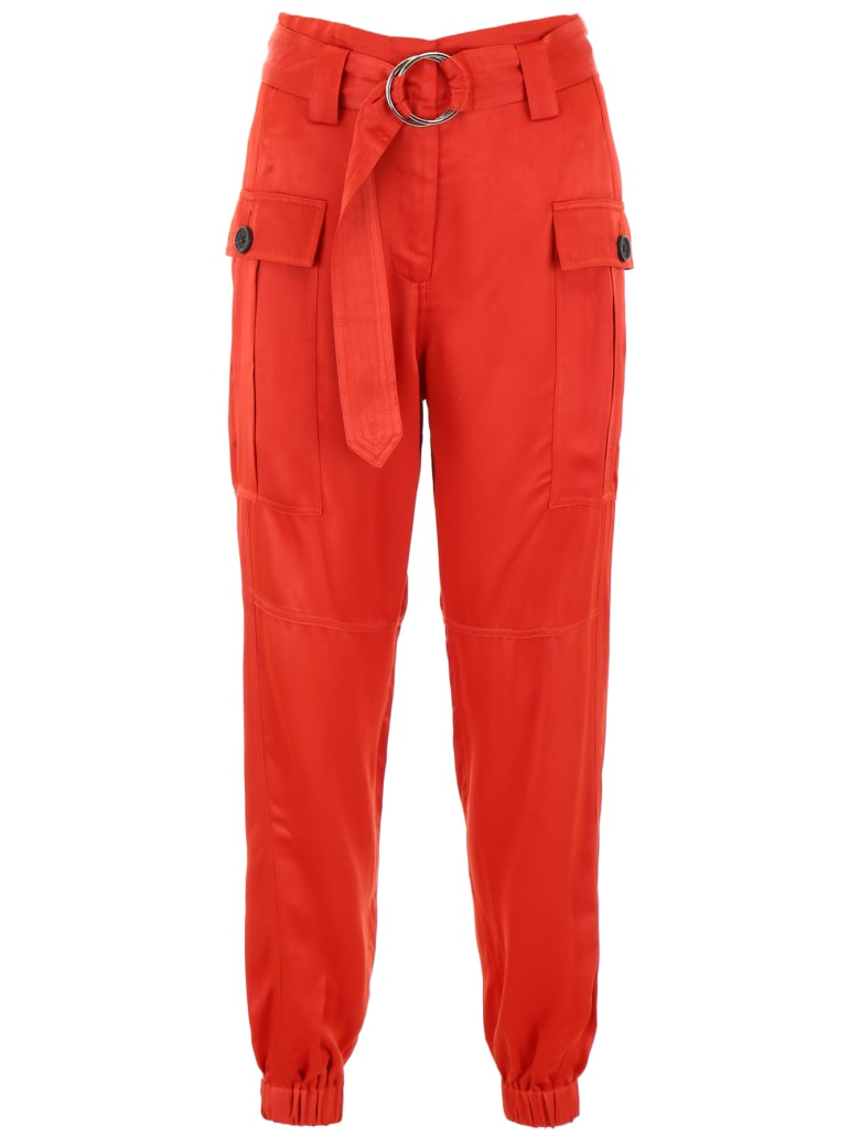 self-portrait Cargo Trousers - RUST (Red)