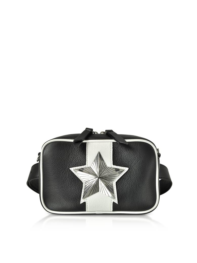 Les Jeunes Etoiles Black And White Leather Vega Belt Bag W/chain Strap - Black / White
