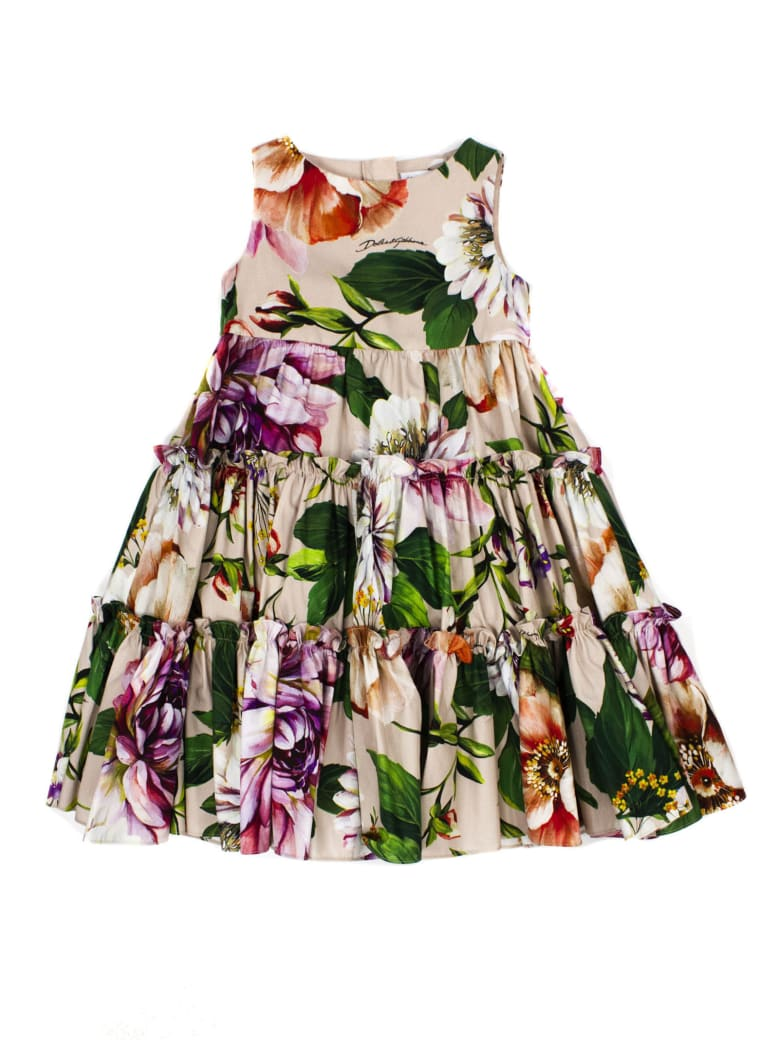 Dolce & Gabbana Long Poplin Dress With Floral Print - Fiori