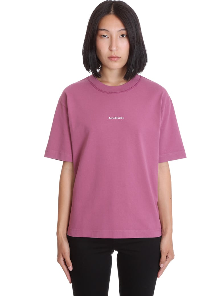 Acne Studios Edie Stamp T-shirt In Viola Cotton - Viola