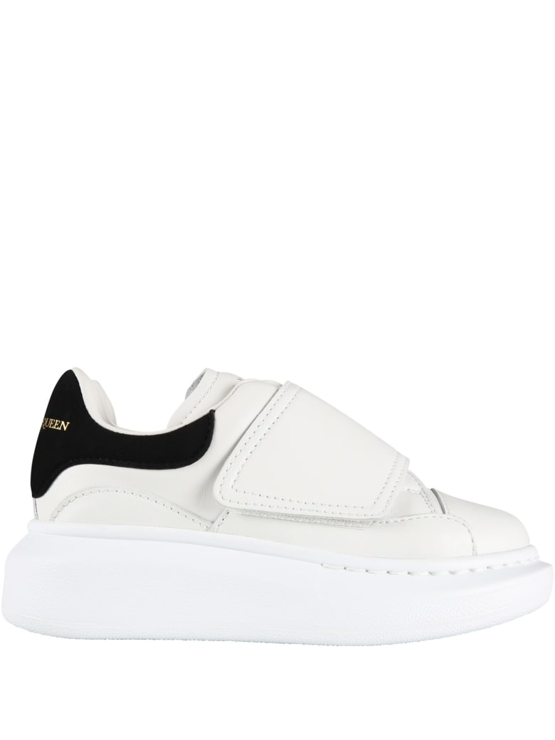 Alexander McQueen White Sneakers For Kids With Logo - Whiteblack