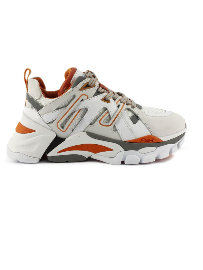 Ash Flash Sneaker In White And Orange Nubuck - Bianco+arancio