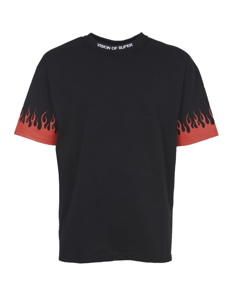 Vision of Super Red Flames T-shirt - Black