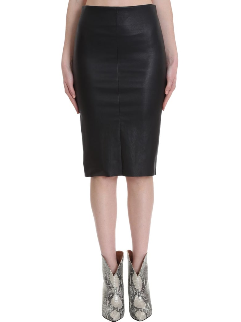 DROMe Skirt In Black Leather - black