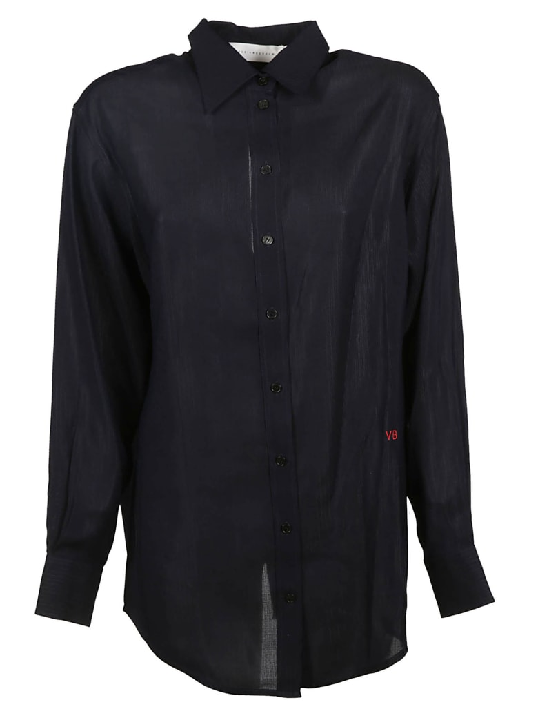 Victoria Beckham Logo Embroidered Shirt - Dark Navy