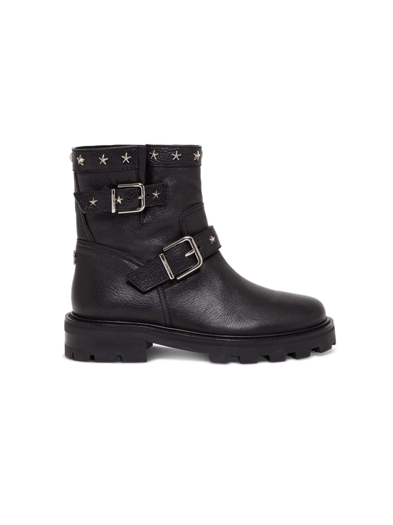 Jimmy Choo Leather Boots With Star Studs - Black
