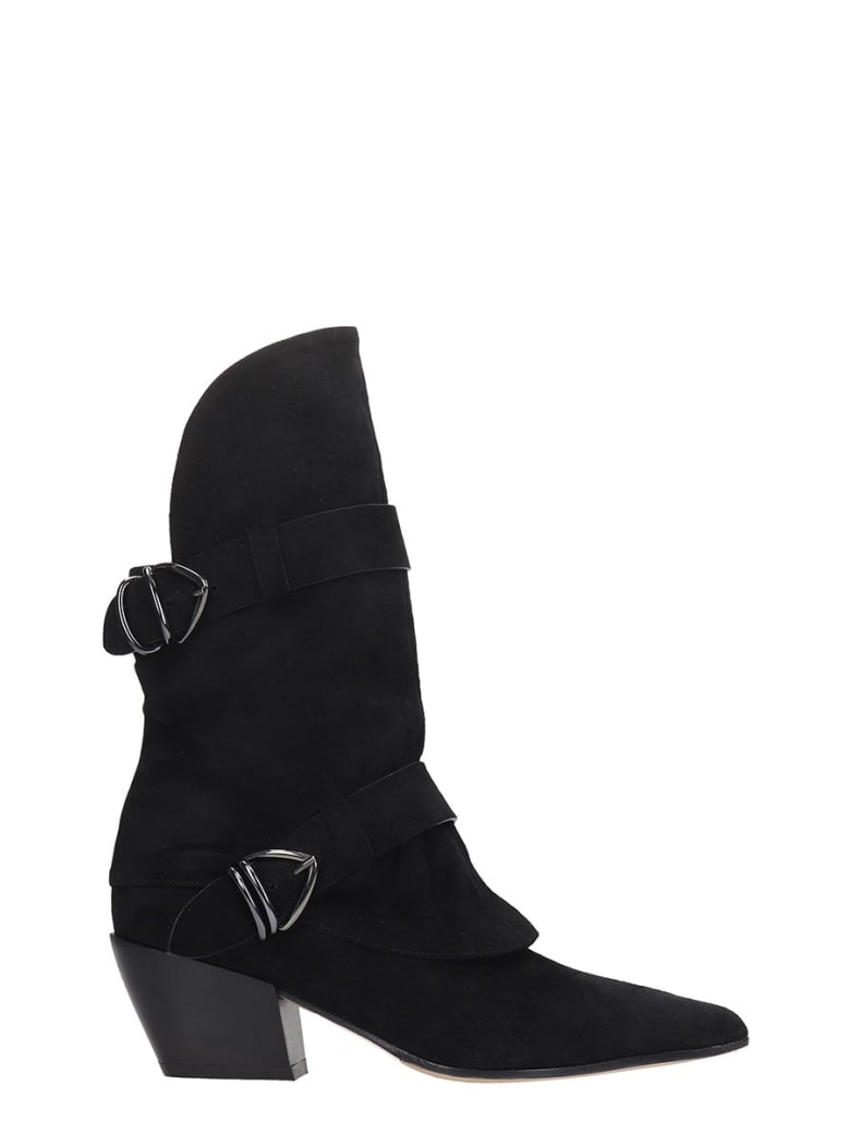 Dei Mille Texan Ankle Boots In Black Suede - black
