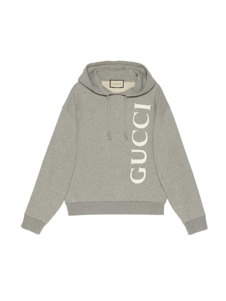Gucci Logo Sweatshirt Hoodies - Medium Grey White