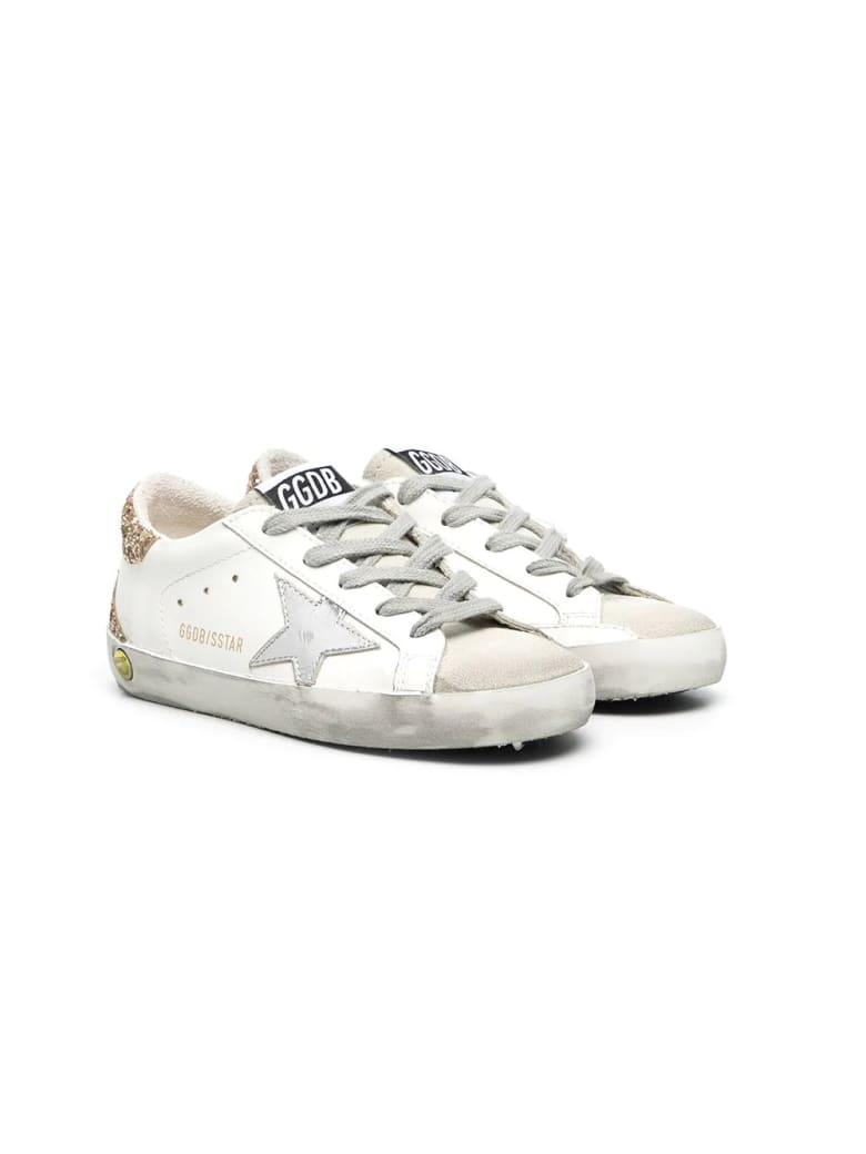Golden Goose Superstar Sneakers With Glitter Back - Bianca-arg-oro