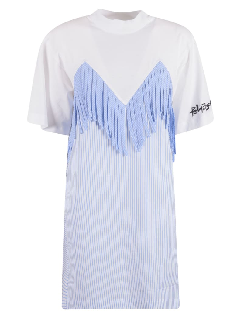 Palm Angels Fringed T-shirt Dress - WHITE/BLUE