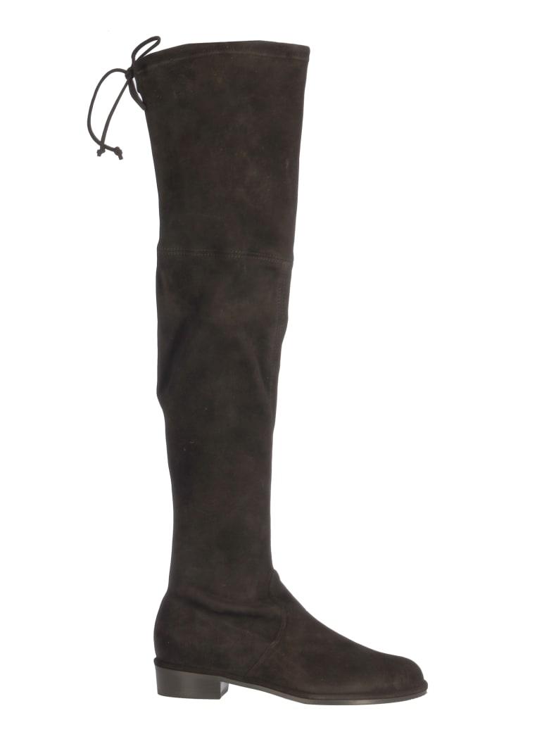 Stuart Weitzman Hi Boots With Lace On The Top/stivale Alto - Black  Black