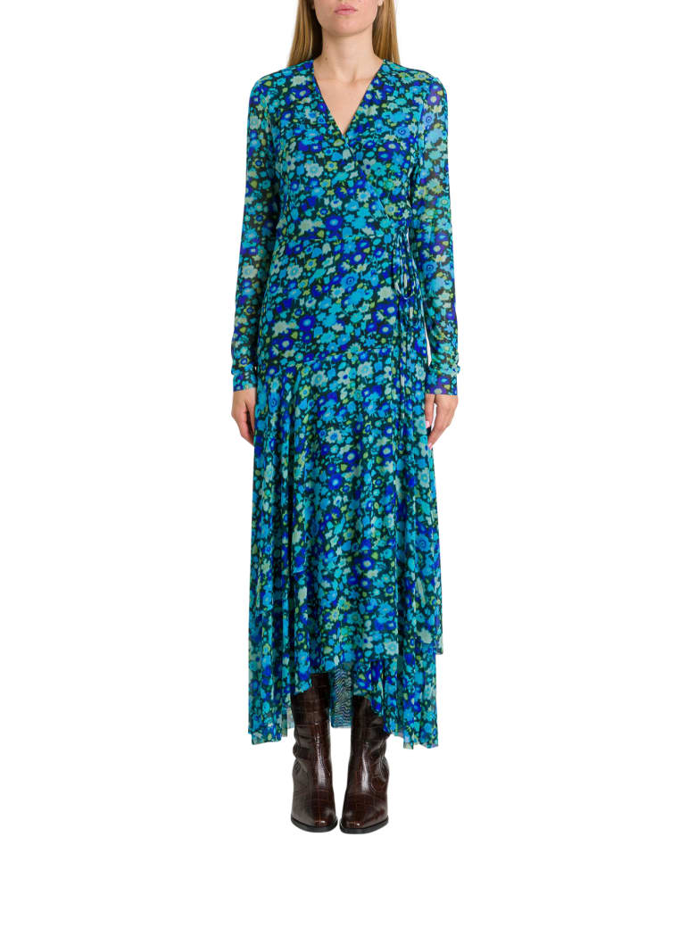Ganni Wraped Dress With Floral Motif - Azzurro