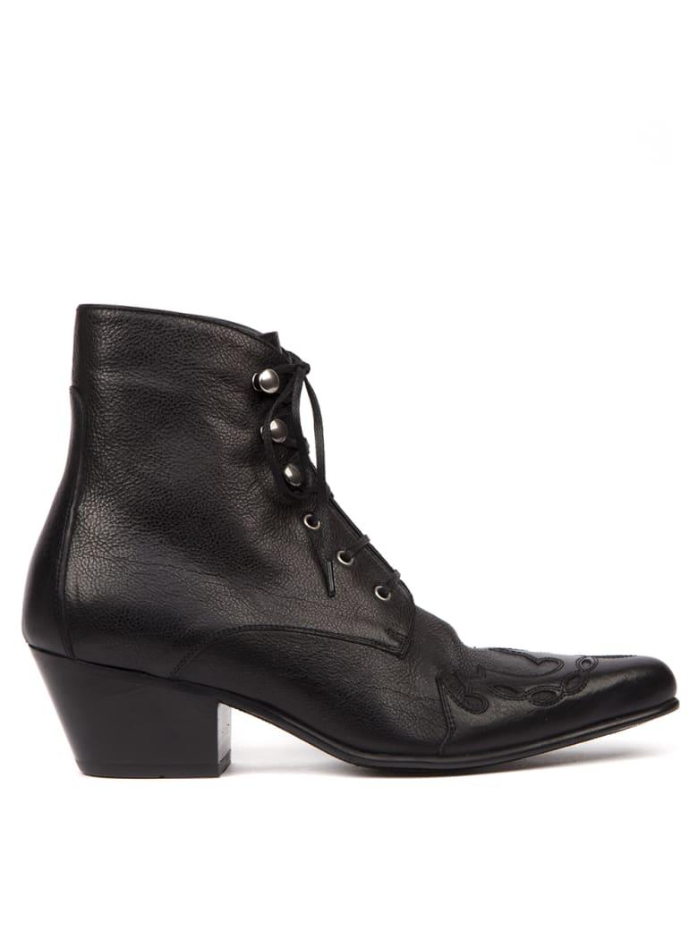 Saint Laurent Black Leather Susan Laced Ankle Boots - Black