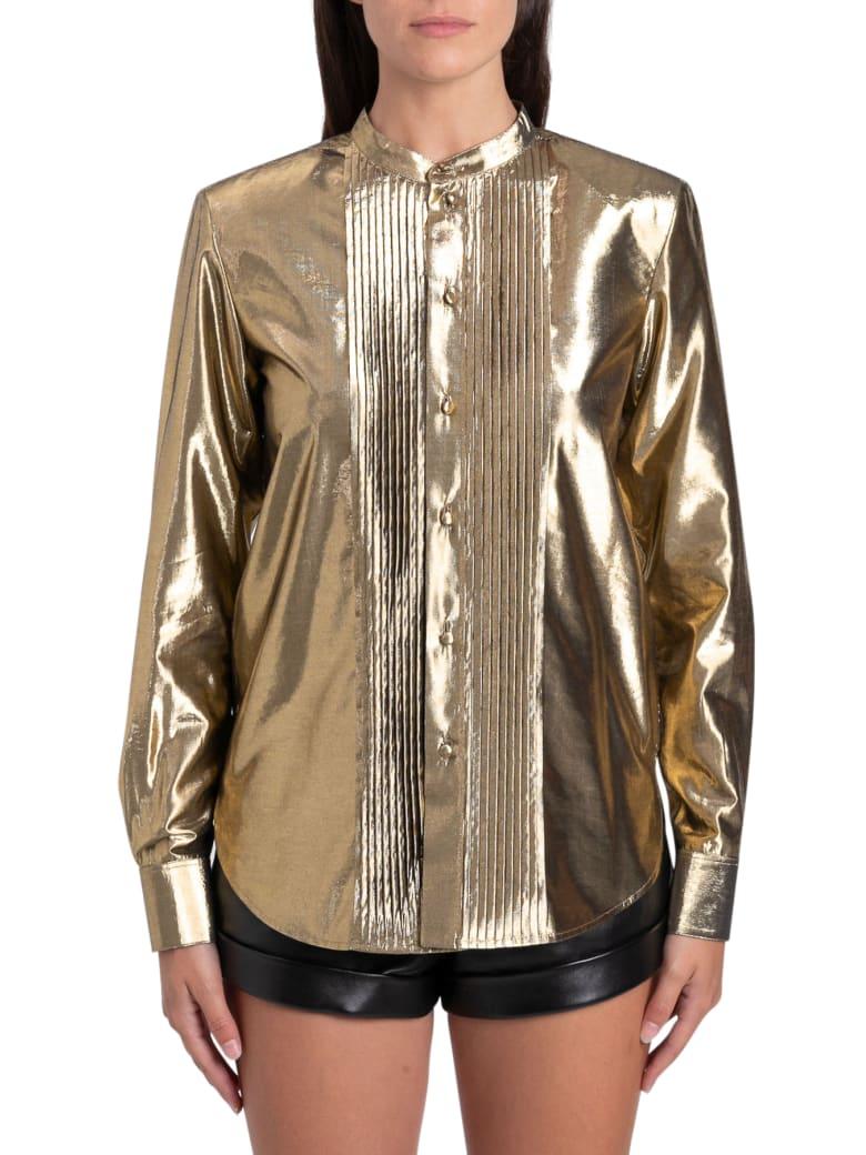 Saint Laurent Camicia Dorata Con Plastron - Oro