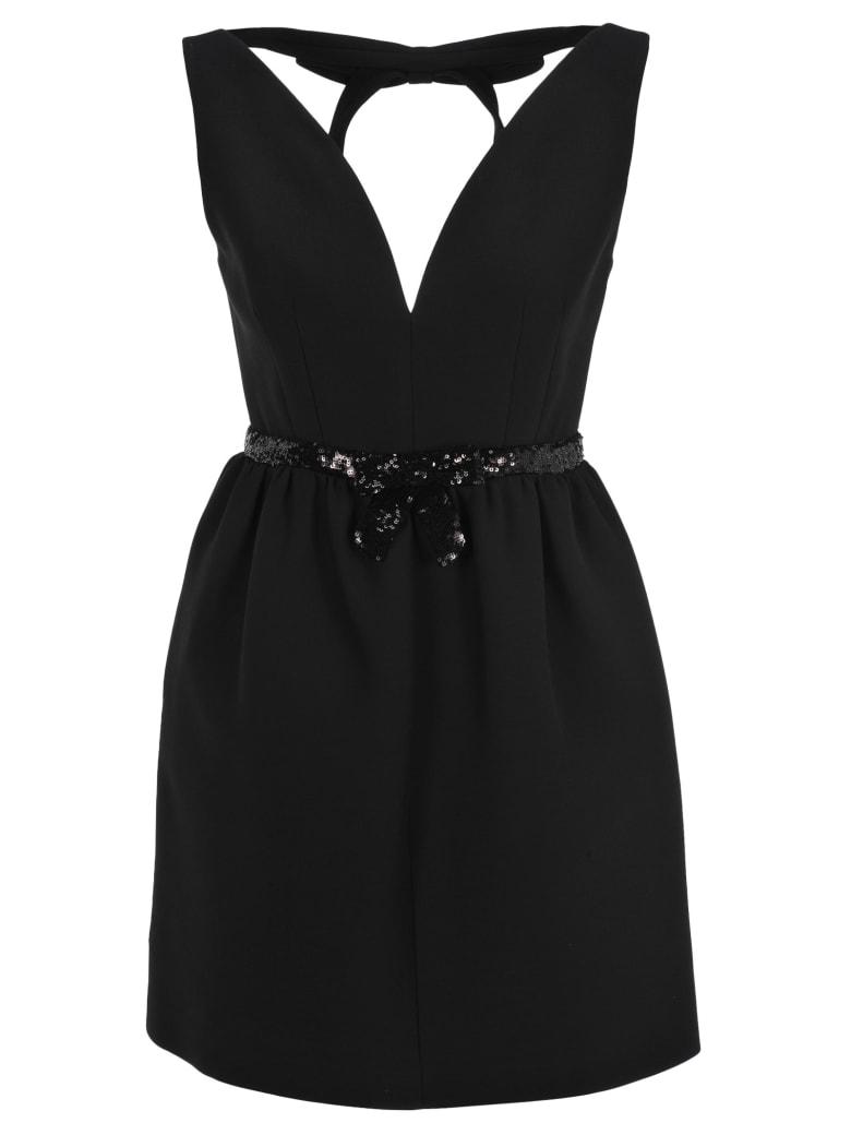 Miu Miu Sequin-embellished Belted Mini Dress - BLACK
