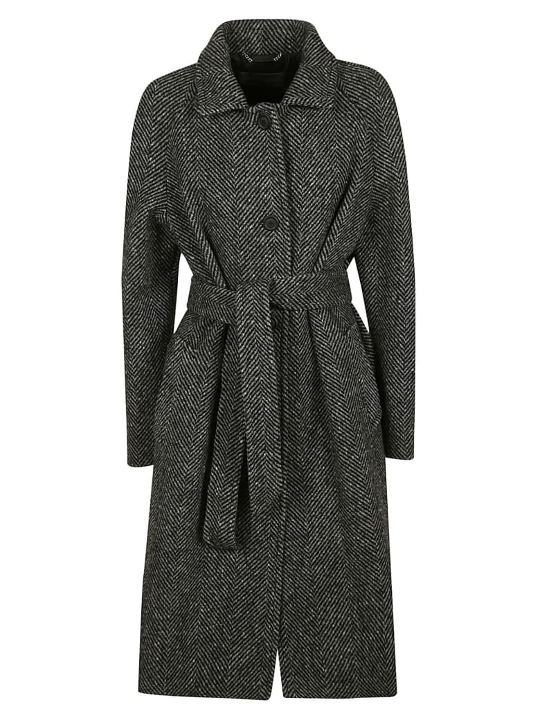 Alberta Ferretti Tie-waist Patterned Coat - Grey