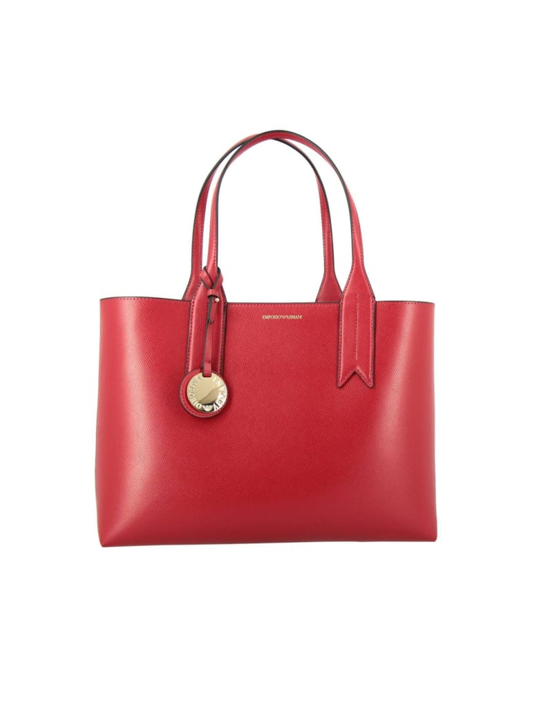 Emporio Armani Handbag Emporio Armani Shopping Bag In Synthetic Leather With Logo - red