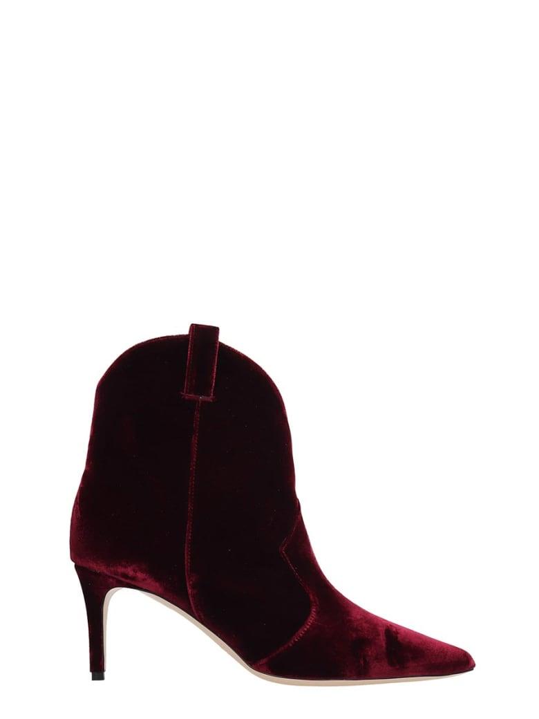 Dei Mille High Heels Ankle Boots In Bordeaux Velvet - bordeaux