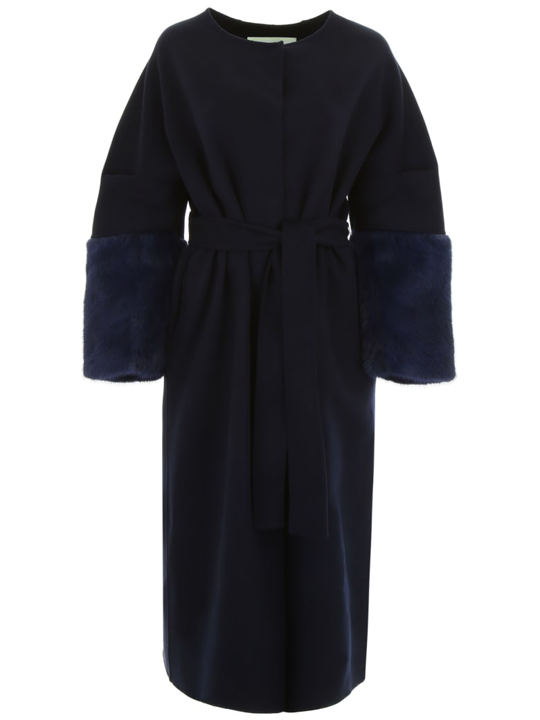 Ava Adore Wool Coat With Mink Sleeves - BLU (Blue)
