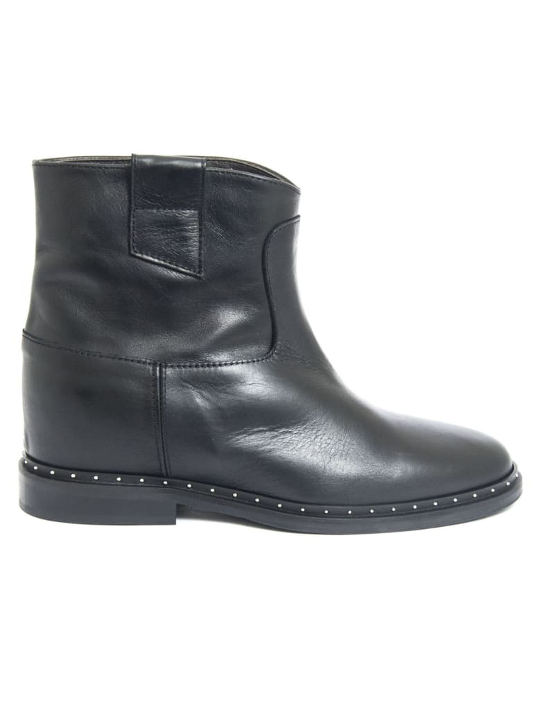 Via Roma 15 Ankle Boot In Black Leather - Nero