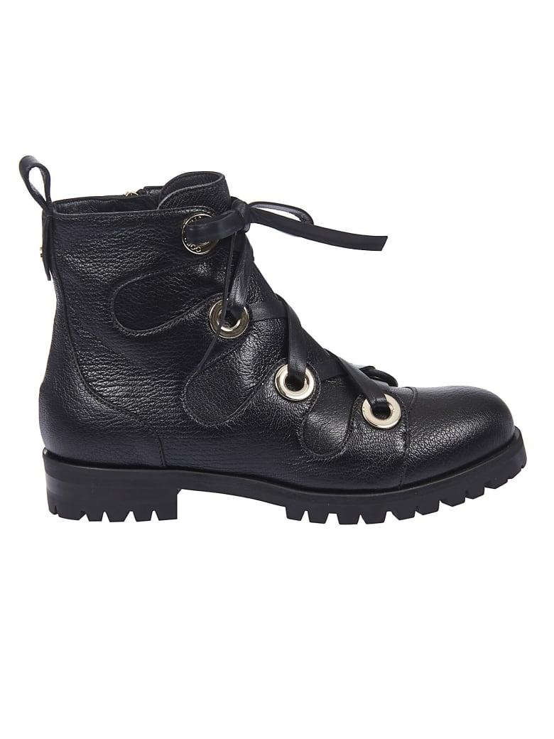 Jimmy Choo Bei Flat Lace-up Boots - Nero