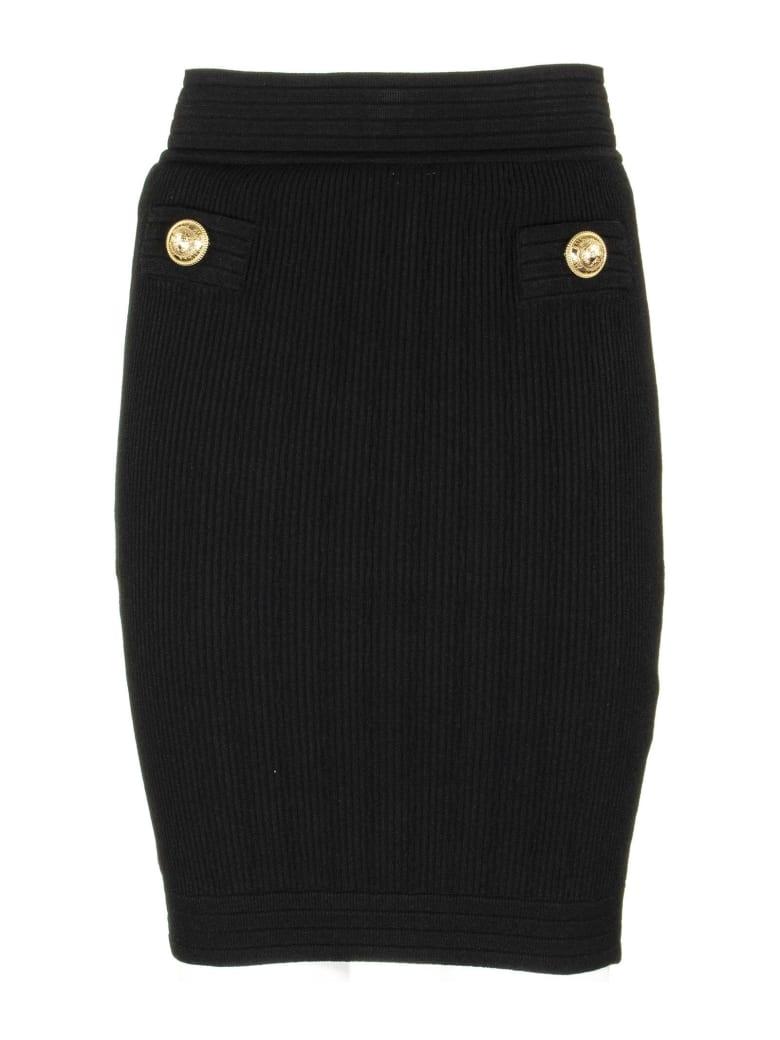 Balmain Knitted Bodycon Skirt Black - Black