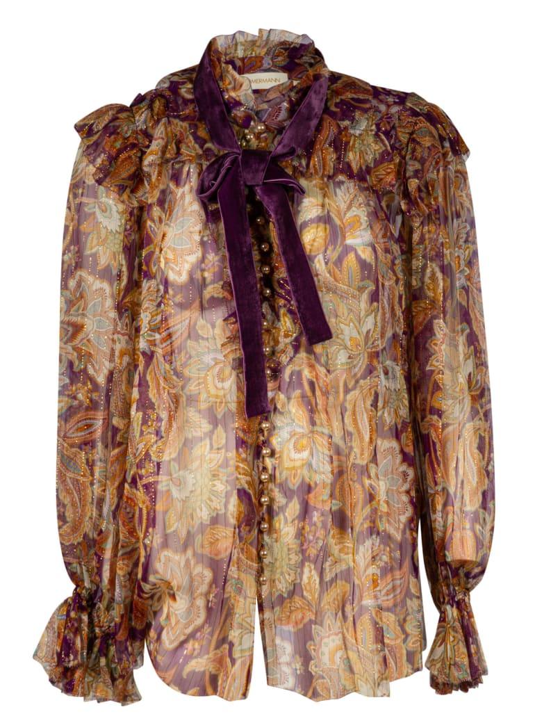 Zimmermann Ladybeetle Ruffled Lurex Top - Purple Jacobean