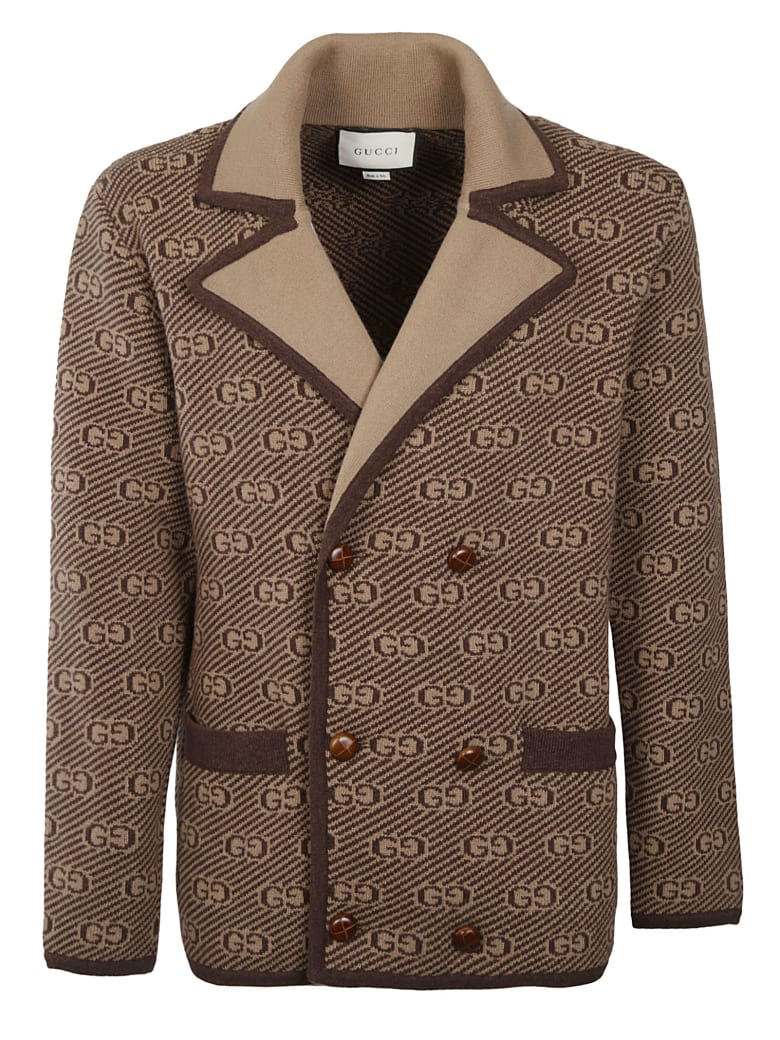 Gucci Double-breasted Logo Jacket - Brown/Camel