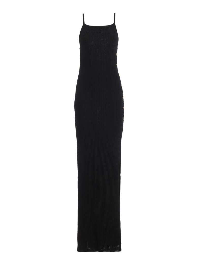 Balmain Ribbed Viscose Jersey Long Slip Dress - Black