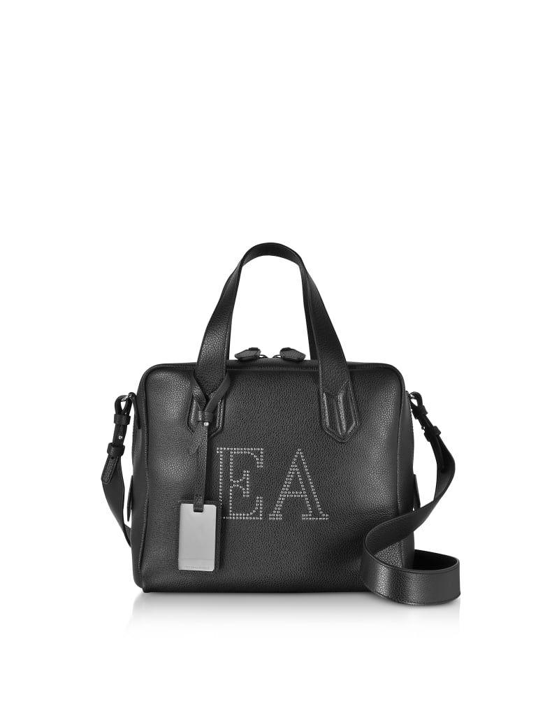 Emporio Armani Genuine Leather Top Handles Boston Bag - Black