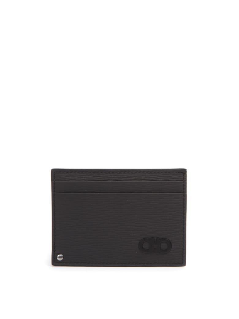 Salvatore Ferragamo Dark Grey Leather Logo Cardholder - Grey