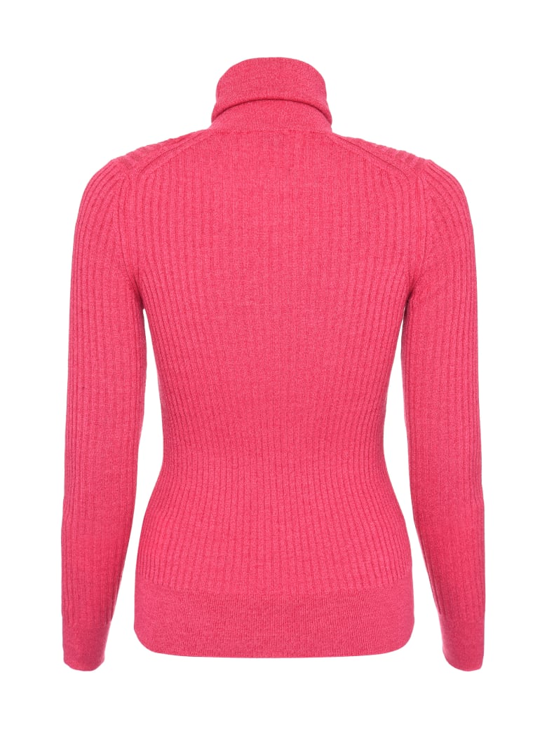 Moncler Ribbed Knit Turtleneck Pullover - Fuchsia