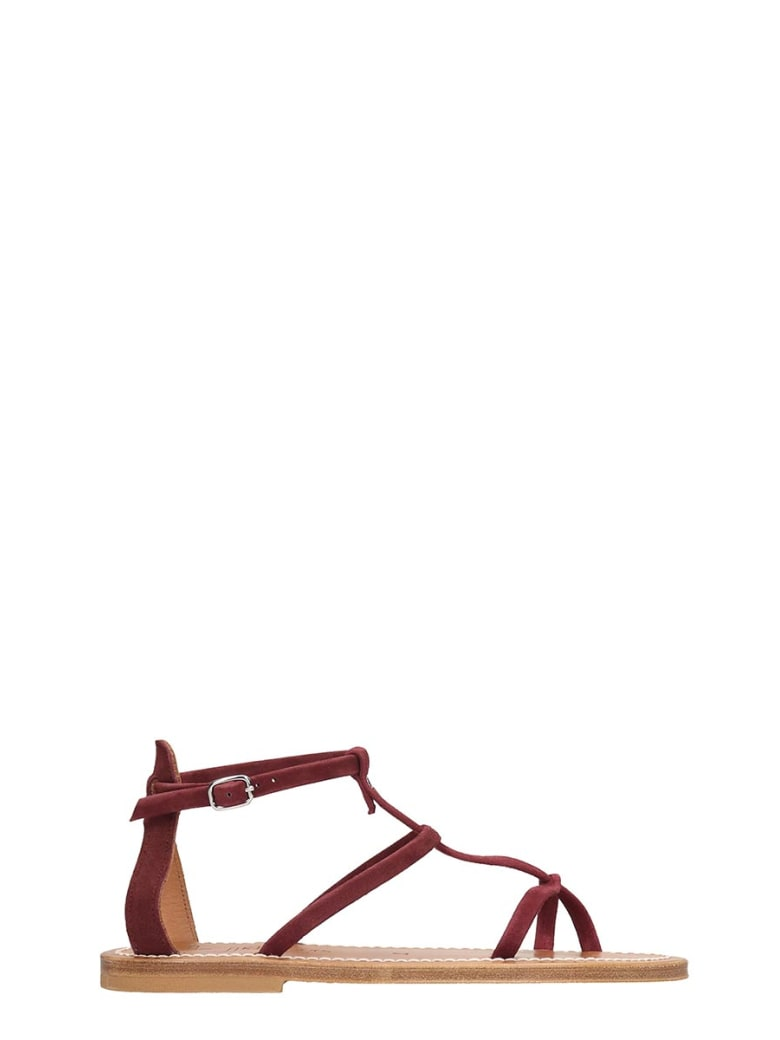 K.Jacques Antioche  Flats In Bordeaux Suede - bordeaux