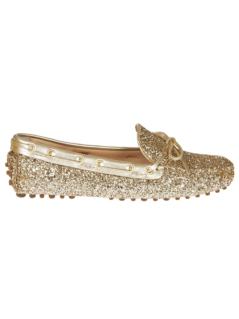 Car Shoe Glittery Loafers - Gold