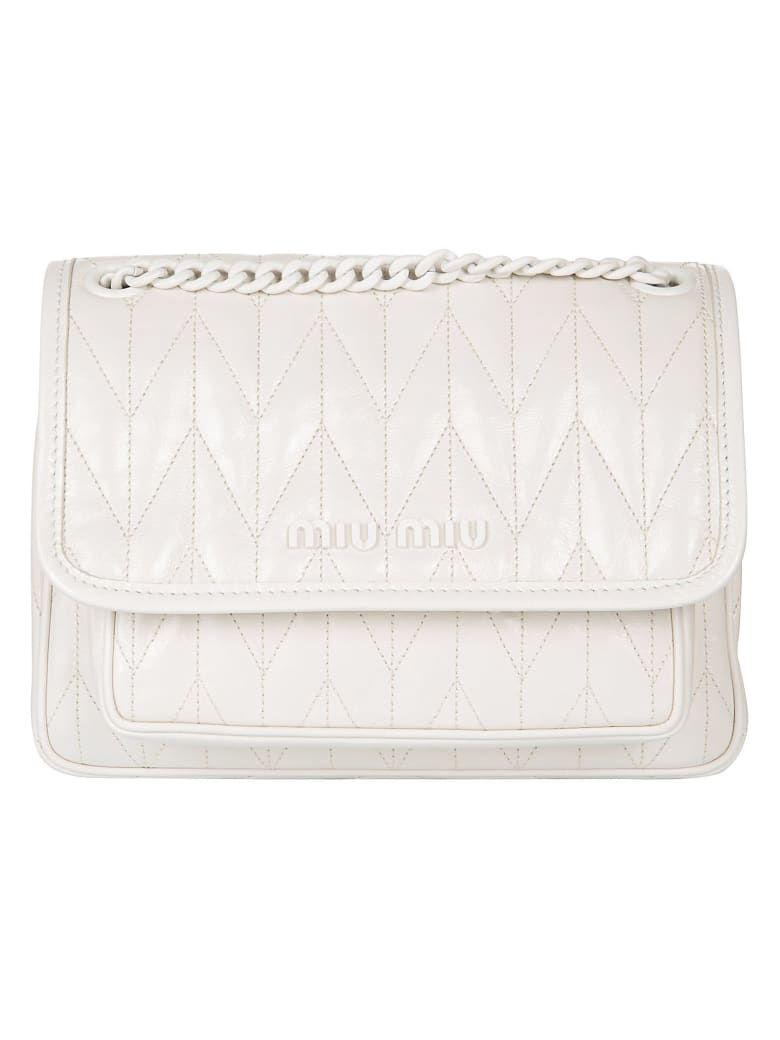 Miu Miu Flap Logo Detail Shoulder Bag - Talco