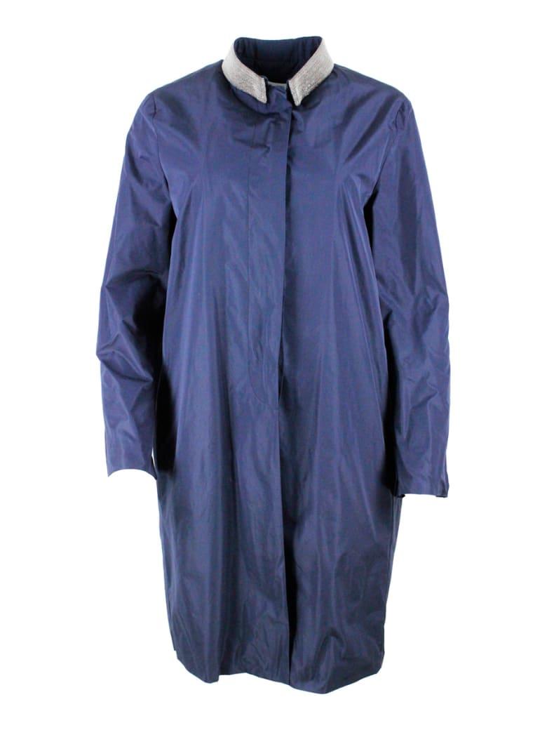 Fabiana Filippi Light Nylon Coat With Button Closure And Jewels On The Collar - Blu
