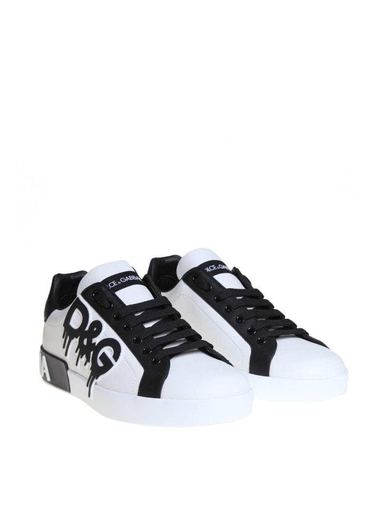 Best price on the market at italist | Dolce & Gabbana Dolce & Gabbana Sneakers Portofino In Printed Calfskin White Color