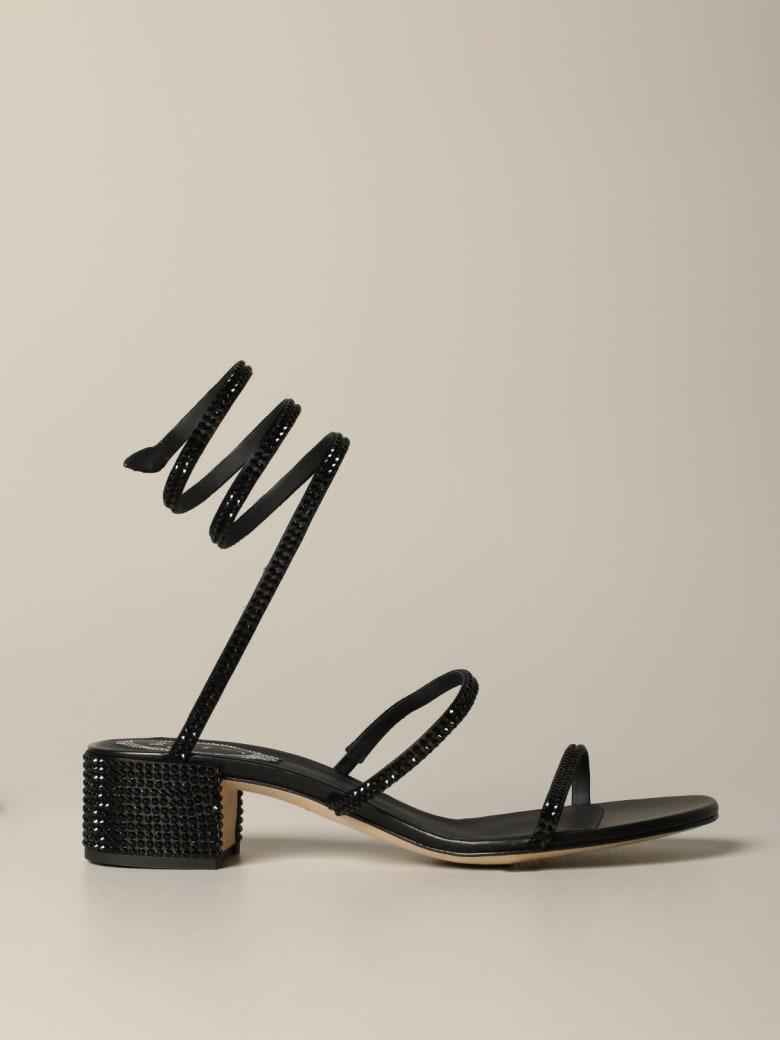 René Caovilla Rene Caovilla Heeled Sandals René Caovilla Snake Sandal With Rhinestones - black