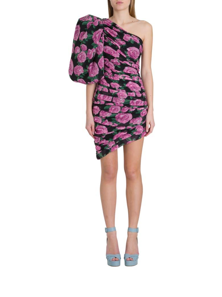 Giuseppe di Morabito One-shoulder Floral Dres With Ballon Sleevs - Print Black