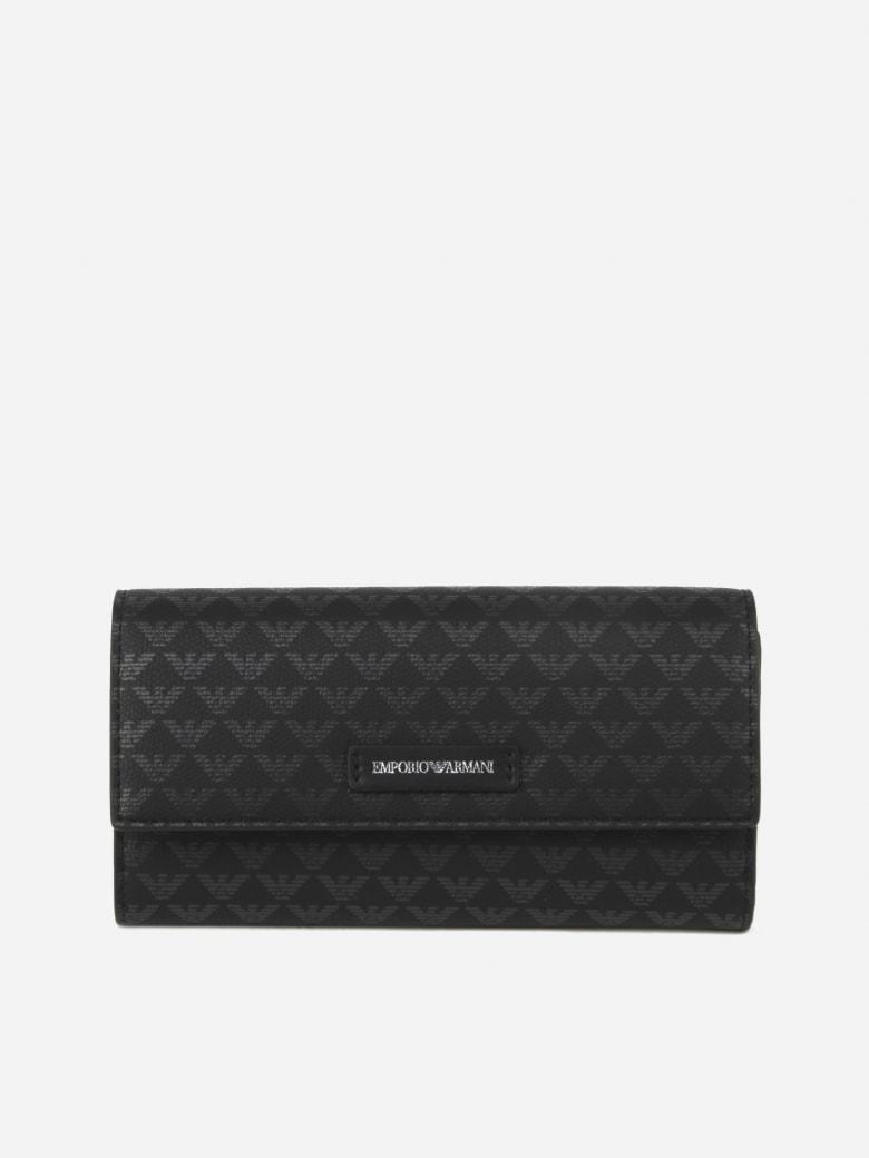 Emporio Armani Wallet With All-over Monogram Print - Nero